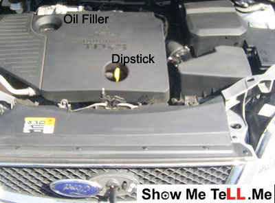 Show me tell me practical driving test saftey check items on Ford Focus Mk2 icluding oil filler and oil dipstick.
